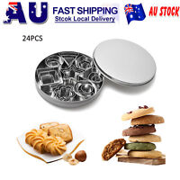 24pcs Stainless Steel Round Cake Biscuit Cookie Dough Cutter Mold Baking Tools