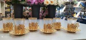 Handmade role design Turkish tea set 12 pieces gold and silver