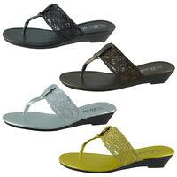 New Womens Sandals Wedge Shoes Low Heels Flip Flops Thong BABY-101