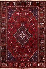 Excellent Vintage Geometric Joshaghan Wool Area Rug Hand-Knotted Carpet 7'x10'