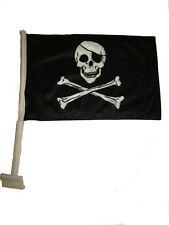 "12x15.5 JR Pirate Eyepatch Double Sided Nylon Car Window Vehicle 12""x15.5"" Flag"