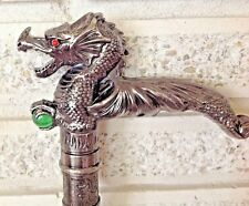 Cane Medieval Gothic Pewter Dragon with Red Eyes Clutching a Green Crystal Ball