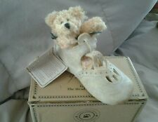 Boyds Bear-Foot Friends Krissy-Blessed Christening- Resin Shoe With Plush Bear