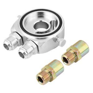 Fit For Car Sport Aluminum Oil/Gauge Filter Sandwich Adapter Plate Kit Silver