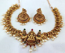 RUBY GREEN GOLD TONE NECKLACE EARRINGS SET GODDESS LAKSHMI SOUTH TEMPLE JEWELRY