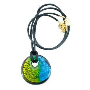 Murano Glass Necklace Pendant Blue Green Black Millefiori Venice