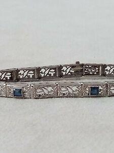 Antique Vintage Art Deco  Sterling Silver Filigree Blue Stone Sapphire? Bracelet