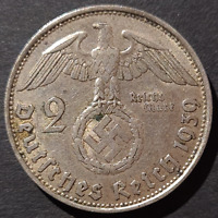 Nazi Germany Third Reich, 2 Mark Silver Coin, 1939 B, Vienna Mint
