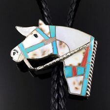Tie by Helen & Lincoln Zunie Zuni Sterling Silver Mosaic Inlay Horse Bolo