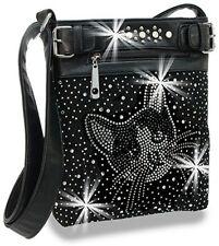 Rhinestone Kitty Cat Design Cross Body Sling Handbag Black