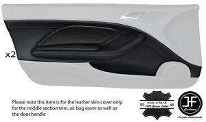 BLACK STITCH 2X FRONT DOOR CARD TRIM LTHR COVERS FITS BMW E46 CONVERTIBLE COUPE