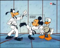 Antigua 1991 Disney/Mickey/Donald/Goofy/Karate/Sports/Cartoons 1v m/s (n26681)