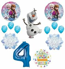 Frozen 4th Birthday Party Supplies Olaf, Elsa and Anna Balloon Bouquet  Blue #4