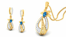Pave 1.57 TCW Natural Diamonds Sapphire Pendant Earrings Set In 585 14Carat Gold