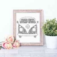 Personalised Volkswagen Word Art Print VW Campervan holiday Father's Day Gift