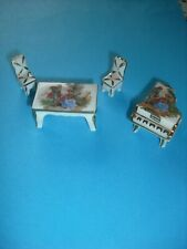 Vintage Limoges Dolls House Miniatures - Dining Room- Table 2 Chairs and Piano