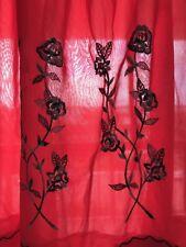 Vintage Half Slip Silky Red Nylon Embroidered Size M Semi Sheer Venus Form Usa