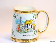 Carrigaline Pottery Irish MUG Cork Ireland Shamrocks Thatch Roof Cottage 1970