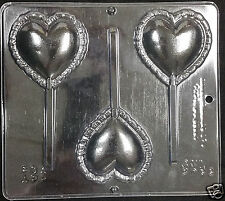 Valentine's Heart w/ Ruffle Lollipop Chocolate Plastic Candy Soap Mold CML 3033
