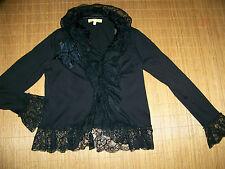 BiBA schwarze Spitzen Stretch Jacke elegant Romantik 38 Gothic verspielt TOP #38