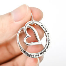 """925 Sterling Silver Charm """"Always My Sister My Friend"""" Curve Heart Necklace 18"""""""