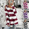 Womens Casual Long Sleeve Strapless T Shirt Crew Neck Tops Loose Blouse Tunic