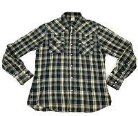 TRUE RELIGION Western Pearl Snap Button Long Sleeve Flannel Shirt Men Size 3XL