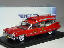 (KI-09-22) Neo Scale Models Cadillac Superior Ambulance Red 1959 IN 1:43 Boxed