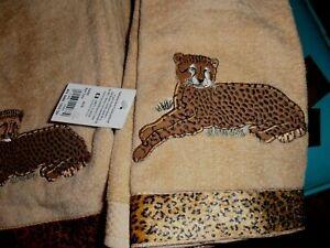 5 Avanti Linens Animal Parade Hand Towel NWT New Cheetah