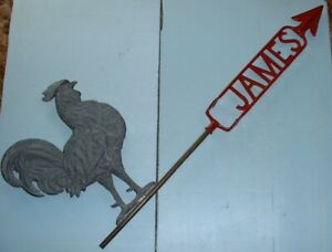 Large James Rooster Lightning Rod Weathervane