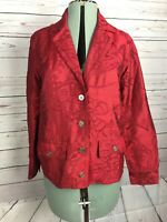 CHICO'S Size 0 100% Silk Textured Embroidered unlined Jacket Deep Red Small