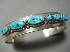 RARE VINTAGE APACHE TURQUOISE STERLING SILVER NATIVE AMERICAN NATURAL BRACELET