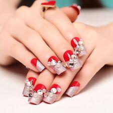 24pcs Bride False Artificial Fake Nails Tips Designed French Red Diamond Finger