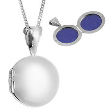 PLAIN ROUND LOCKET ON CHAIN STERLING SILVER 925 HALLMARKED NEW FROM ARI D NORMAN