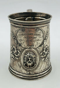Antique Wood & Hughes 1866 American Coin Silver GOD Flower Tankard Cup Mug 164g