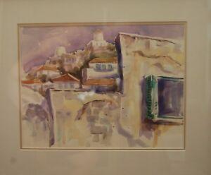 Australian Artist Sidney Fort original watercolour titled 'Greek Island Town'