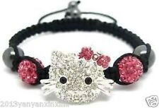 Beautiful Crystal Lovely Cat Girl Childen kids Shamballa Bracelet Jewellery