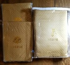 King Coverlet and 2 Shams, 3 Piece King Macy's Versai Gold Quilt 108 x 100 inch