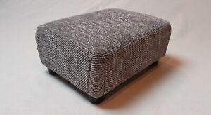Footstool / Small Stool /  Black and Grey Fleck Fabric