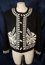 Stunning Double D Ranchwear Black & White Embellished Western Blazer Jacket Sz L