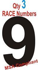 Qty 3 Race Numbers. MSA Compliant  Motorsport Vinyl Stickers FLAT RATE P&P