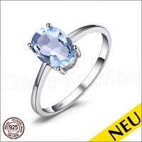 NEU 🌸 Echt 925 Sterling Silber Blau TOPAS Ring SKY Blue TOPAZ 🌸 SOLITÄR