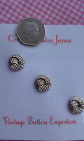 3 Silver Coloured Knot Metal Shank Vintage Buttons approx 14mm Sewing Craft