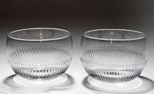 Pair Victorian Antique Cut Lead Glass Finger Rinser Bowls c.1850