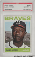 1964 TOPPS #300 Hank Aaron Braves Outfielder PSA NM-MT 8