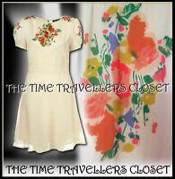 Topshop Ivory Cream Floral Vintage Patch Crepe 1940s WW2 Pinup Tea Dress UK 10