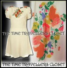 Topshop Ivory Crema Floral Vintage Parche Crepe 1940s Segunda Guerra Mundial foto Vestido de Té UK 10