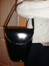 WORLD POLO CHAMPIONSHIP BLACK PATENT LEATHER BUCKET WOMEN'S BAG
