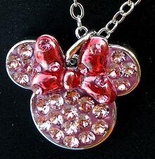 Disney park arribas bros swarovski pink red minnie ears bow crystal necklace