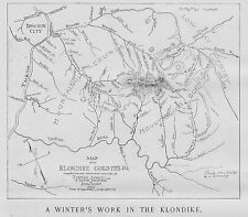 KLONDIKE GOLD FIELDS MAP DAWSON CITY KLONDIKE 1898 ELDORADO AND BONANZA CREEK